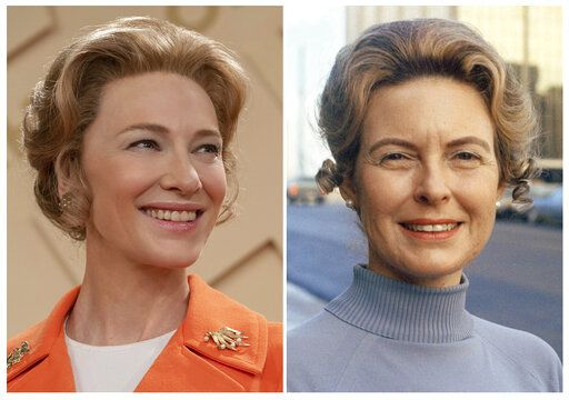 "This combination photo released by FX shows Cate Blanchett as Phyllis Schlafly in a scene from the miniseries ""Mrs. America,"" left, and Phyllis Schlafly, chairwoman of the Republican Women's Organization in St. Louis on Jan. 17, 1973. (Sabrina Lantos/FX via AP, left, and AP Photo)"