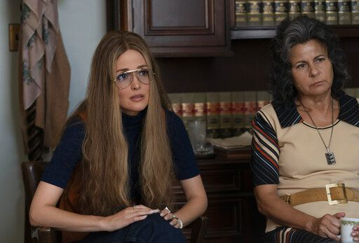 "This image released by FX shows Rose Byrne as Gloria Steinem, left, and Tracey Ullman as Betty Friedan in a scene from the miniseries ""Mrs. America,"" an FX original series premiering April 15 on Hulu. (Sabrina Lantos/FX via AP)"