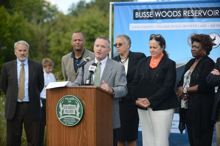 Elk Grove Village Mayor Craig Johnson criticized Cook County Board President Toni Preckwinkle for refusing to provide names of COVID-19 patients to Northwest suburban 911 dispatchers. Johnson is pictured during a 2015 ribbon cutting event in Busse Woods attended by Preckwinkle, third from right.