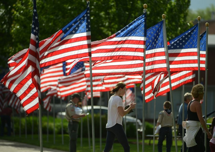 American flags surround Cook Park in downtown Libertyville for Memorial Day.