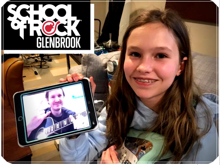 Regional Director of Operations & Guitar/Bass Instructor Adam Instefjord teaches a remote guitar lesson to School of Rock student Sela Snyder.