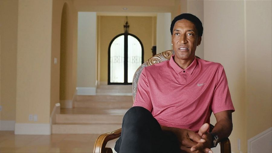"Courtesy of Dick Raphael/NBA PhotosFormer Bull Scottie Pippen is interviewed for ""The Last Dance."""