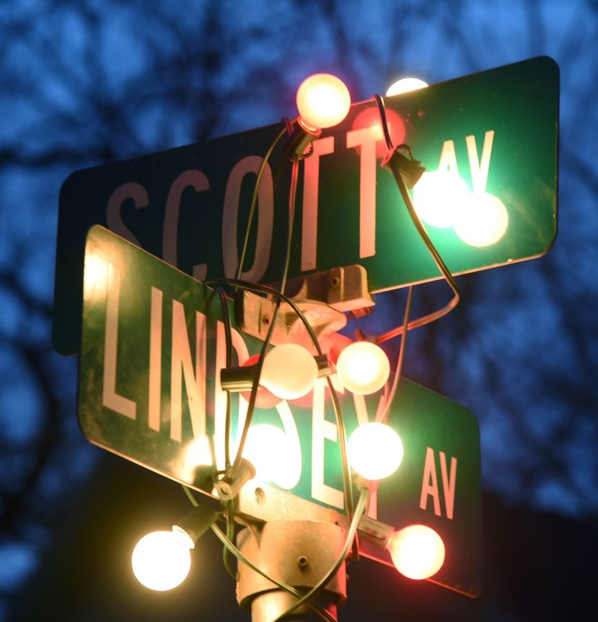 The street signs for Scott and Linsey avenues in Grayslake were decorated with light by residents to bring joy to their neighbors during the COVID-19 pandemic.