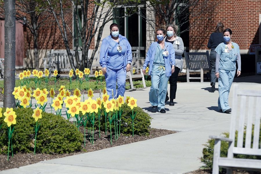 Edward-Elmhurst Health hospital staff members walk outside the east entrance where some of the 300 24-inch decorative daffodils were placed Tuesday April 21, 2020. The hospital system is placing 24-inch decorative daffodils outside each hospital for every COVID-19 patient who has been discharged.