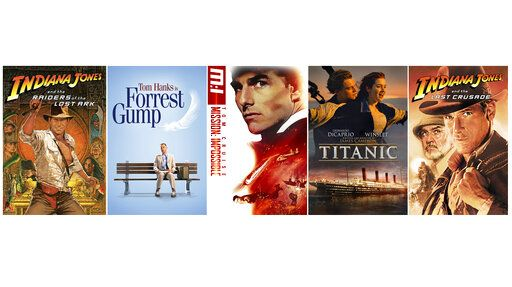 "This combination of photos shows art for classic films, from left, ""Raiders of the Lost Ark,"" ""Forrest Gump,"" ""Mission Impossible,"" ""Titanic"" and ""Indiana Jones and the Last Crusade."" Throughout May, CBS is bringing back its Sunday movie showcase, a longtime network fixture that ended nearly 14 years ago. (CBS Entertainment via AP)"