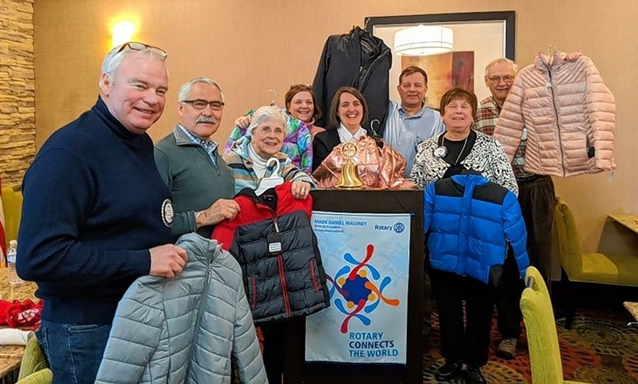 In December, the Rotary Club of Elgin sponsored a Warm Closet for the students at a Kenyon Woods Middle School in South Elgin through The Salvation Army.