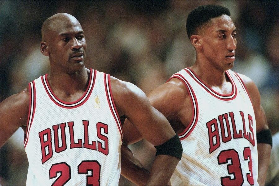 Michael Jordan and Scottie Pippen were the only two members who played during all six championship seasons.