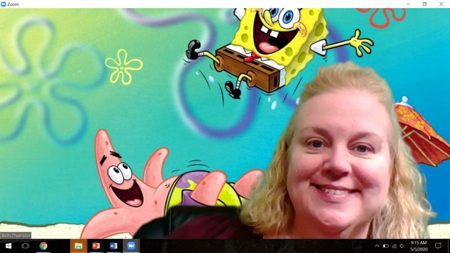 Beth Thomson, seventh-grade social studies teacher at Carpentersville Middle School, engages her students through Zoom calls, frequently using the SpongeBob SquarePants backdrop, and hooks their interest with educational games on Kahoot or Quizlet Live where students compete against each other.