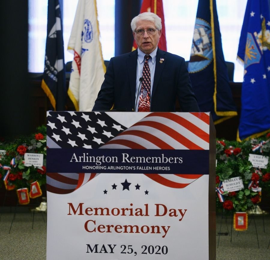 Greg Padovani, chairman of the Veterans Memorial Committee of Arlington Heights, spoke Thursday as part of the virtual Memorial Day ceremony that was taped at village hall.