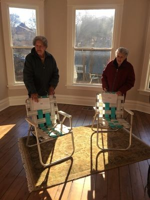 Pat Henschel, left, and Terry Donahue revisited their former home on Third Avenue in St. Charles after neighbors bought and refurbished it. The couple, now the subject of a new Netflix documentary, lived there for decades while keeping their lesbian relationship hidden into old age.