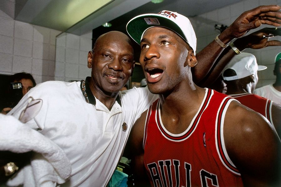 Michael Jordan celebrates winning the NBA Championship with his father, James, after Game 6 of the 1993 NBA Finals on June 20, 1993 at America West Arena in Phoenix. The Bulls won 99-98.