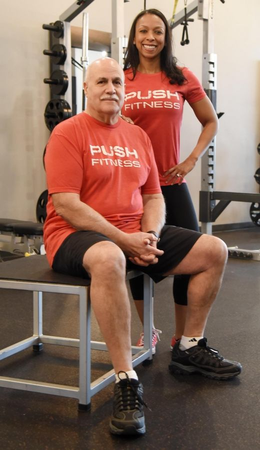 "2020 Daily Herald Fittest Loser contestant Karl ""Van"" Dillenkoffer with trainer Michelle Jeeninga at Push Fitness in Schaumburg, when the contest began in mid-February."