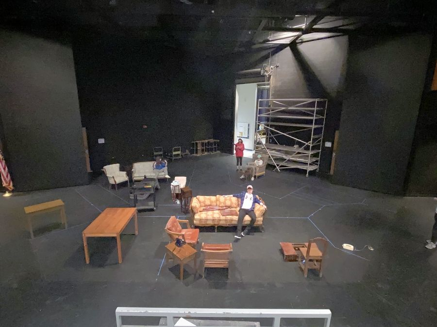 "The rehearsal set of the Vernon Hills High School's Blacklight Theater spring play ""Clue"" before the school was closed because of the COVID-19 pandemic. Students worked remotely to craft a radio version of the show that will air Friday at 6 p.m."