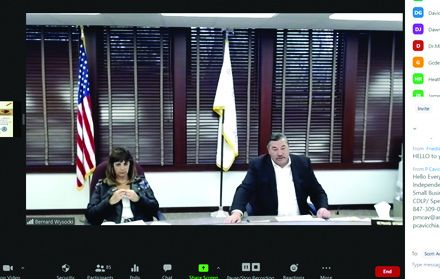 Green Oaks village Administrator Denise Kafkis and Mayor Bernard Wysocki during a mayor's virtual meeting Thursday. Despite tough times, several projects are ongoing in the small village.
