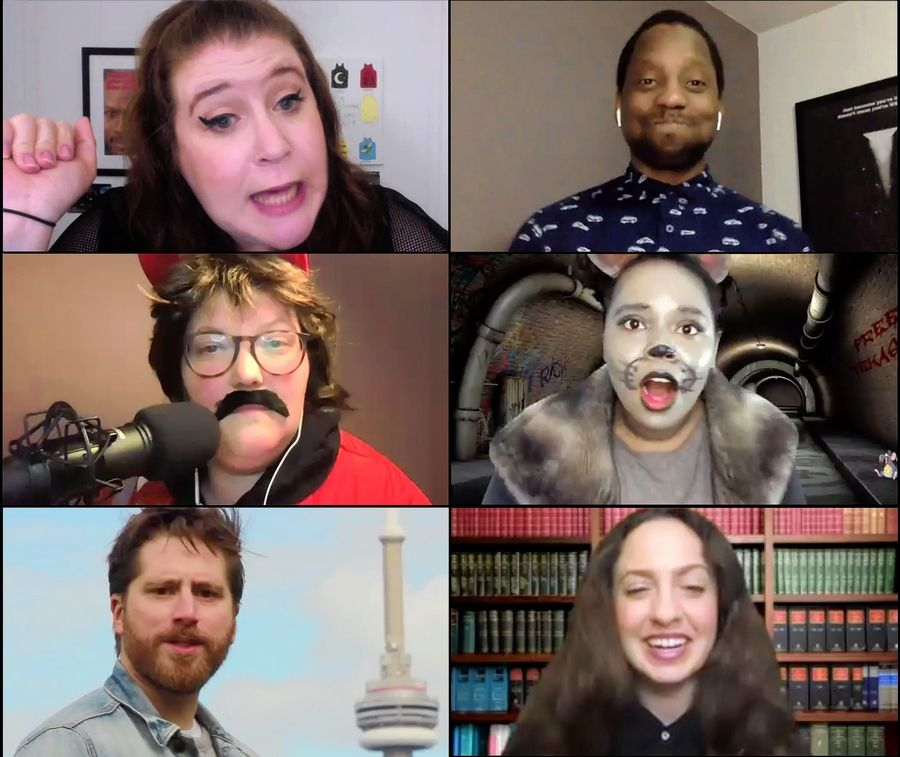 """Helter Shelter,"" The Second City's latest addition to its virtual comedy lineup, features co-host Mary Catherine Curran, clockwise from upper left, Nigel Downer, Asia Martin (as a Chicago sewer rat), Sarah Dell'Amico, Chris Wilson and Tricia Black (as Randy, a conspiracy theorist podcaster)."