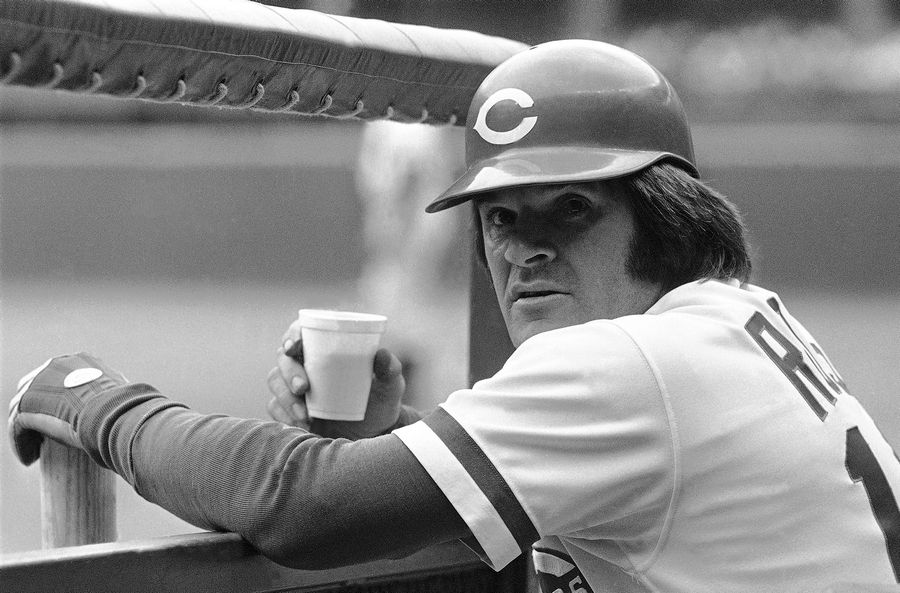 Cincinnati Reds third baseman Pete Rose relaxes with a cup of joe in 1978.