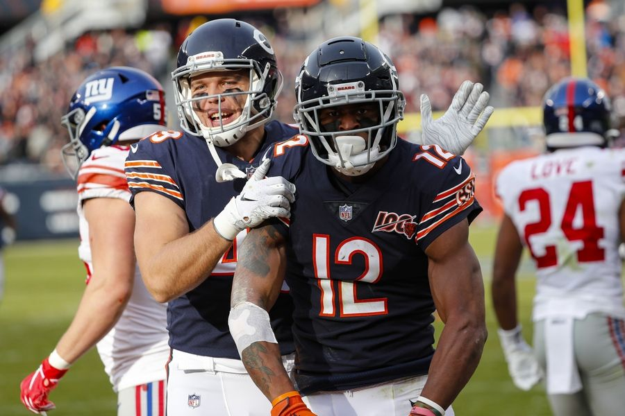 Bears wide receiver Allen Robinson (12) celebrates his touchdown with Jesper Horsted in the win over the Giants last season. Robinson is one of only three true No. 1 receivers in the division, possibly a hair behind Davante Adams and a hair ahead of Adam Thielen.