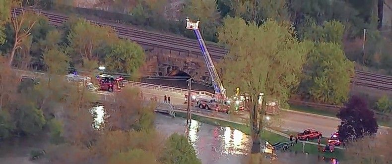 Rescuers were searching for a woman Friday who was swept into the West Branch of the DuPage River near downtown Winfield, along with two of her dogs. A fire ladder truck and rescue boats were being used.