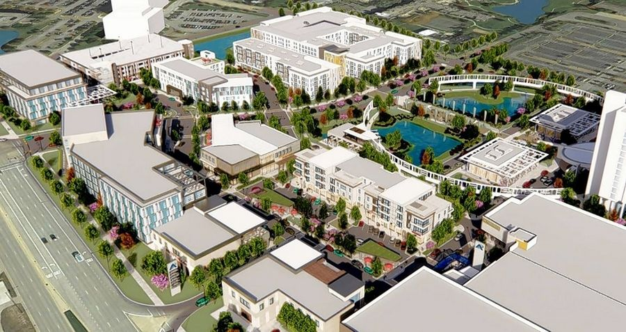 A rendering of Oak Brook-based Kensington Development Partners' proposal for an entertainment district just north of the Renaissance Schaumburg Hotel and Convention Center on the east side of Meacham Road in Schaumburg.