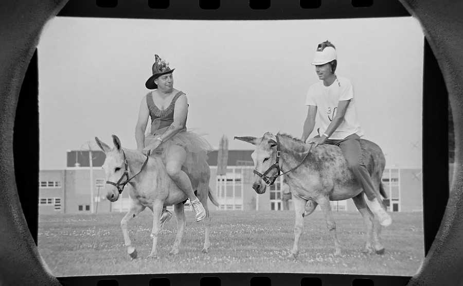 "The Daily Herald Archives, Assignment # 4,270, Bob Finch photo: Roselle Jaycees and Roselle firemen faced off in a donkey baseball game at Lake Park High School in July of 1966. The donkeys, with names such as ""Bad News,"" ""Castro,"" ""Elmer Fudd."" ""Khrushchev,"" and Beetle Bailey,"" were provided by Bob Crosby's Baseball Donkeys in Chippewa Falls, WI."