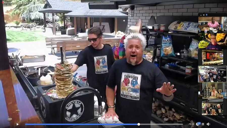 "Guy Fieri, right, and his son, Hunter, competed against Bill Murray and his son, Homer, in the Food Network's ""Nacho Average Showdown"" on Facebook Live as a fundraiser for the Restaurant Employee Relief Fund on Friday, May 15."