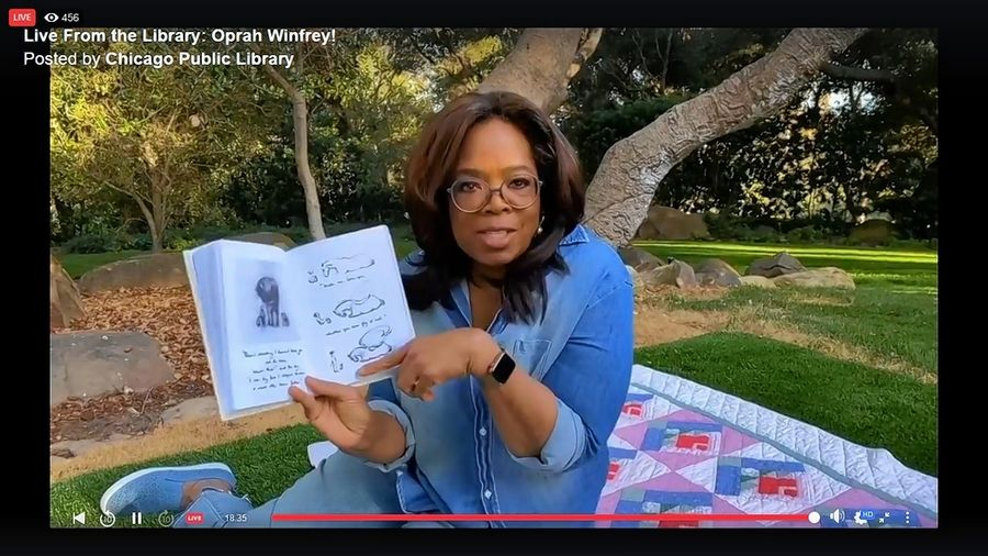 "Oprah Winfrey read ""The Boy, the Mole, the Fox and the Horse"" by Charlie Mackesy on Facebook Live on Monday, May 18, as part of the Chicago Public Library's ""Live from the Library"" storytime."