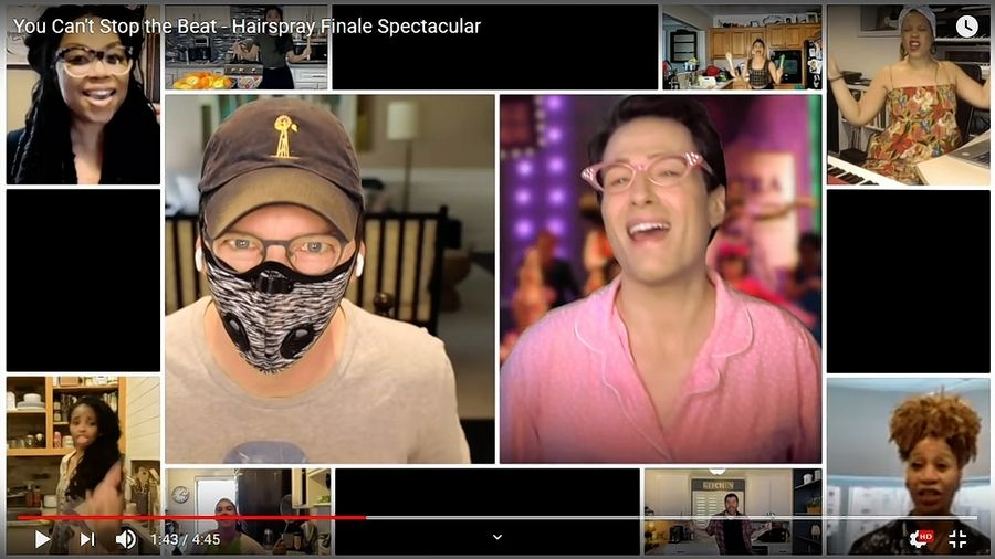 "Glen Ellyn native Sean Hayes, left and in mask, appears with Randy Rainbow and other ""Hairspray"" cast members in a social distanced version of ""You Can't Stop the Beat"" as an online fundraiser for the Actor's Fund."