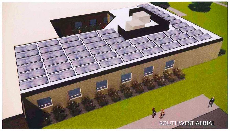 Because construction bids were lower than expected, solar panels on a new gym building at Hawthorn Middle School North in Vernon Hills were added to a $9.4 million expansion/renovation project.