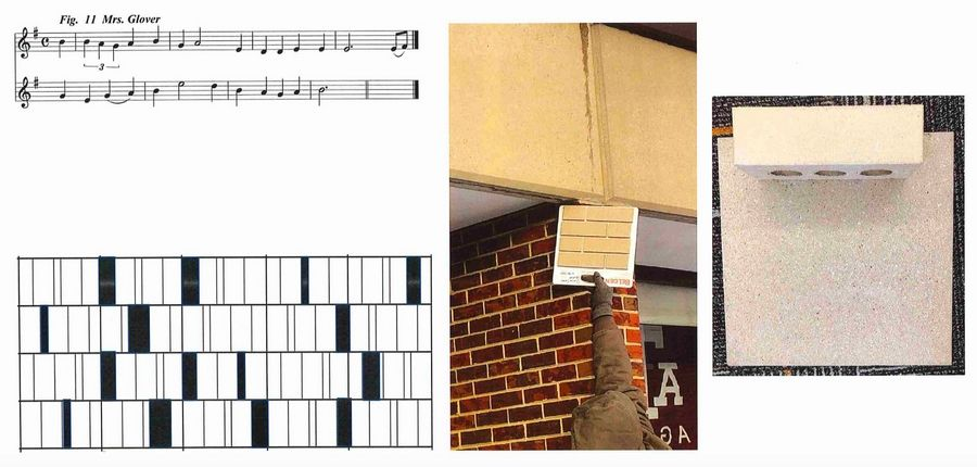 Randomly placed windows on a music building addition at Hawthorn Middle School North in Vernon Hills are meant to resemble musical notes. Because the original brick is no longer made and can't be matched, the color of three planned expansions will match the beige banding.