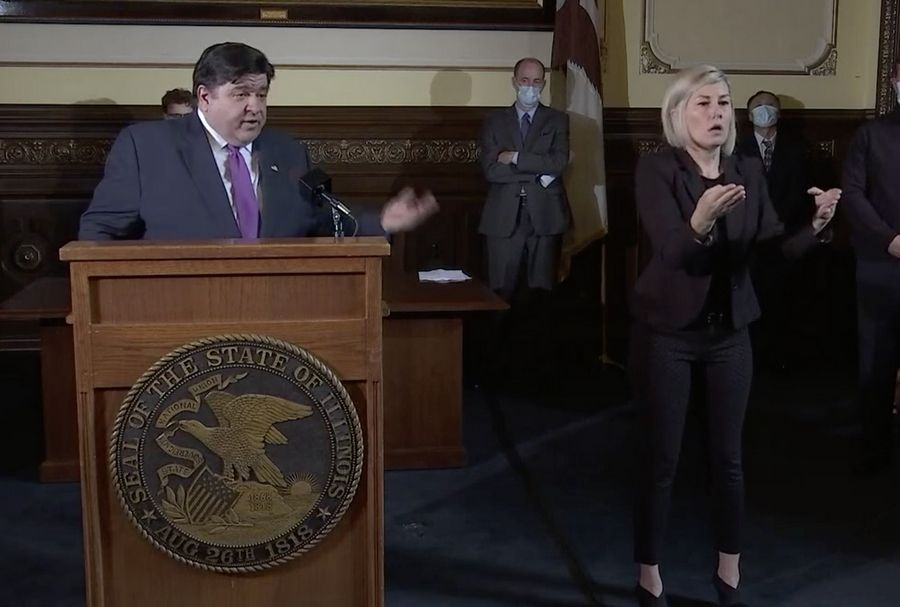 Gov. J.B. Pritzker gives his daily COVID-19 press briefing on Wednesday.