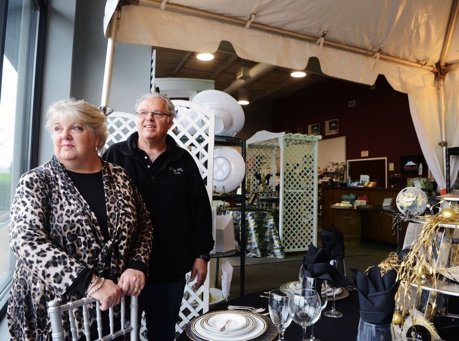 Tracey and Michael Armenakis are the owners of Party Plus Events in Palatine, a tent rental and party supply store that is waiting to reopen after being closed due to the COVID-19 pandemic.