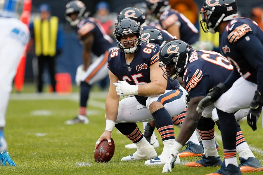 Chicago Bears offensive guard Cody Whitehair (65) watches coverage at the line of scrimmage against the Detroit Lions during the first half of an NFL football game in Chicago, Sunday, Nov. 10, 2019.