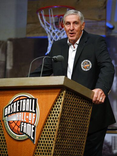FILE - In this Sept. 11, 2009, file photo, Utah Jazz head coach Jerry Sloan makes a statement during a media availability before his enshrinement in the Basketball Hall of Fame in Springfield, Mass. The Utah Jazz have announced that Jerry Sloan, the coach who took them to the NBA Finals in 1997 and 1998 on his way to a spot in the Basketball Hall of Fame, has died. Sloan died Friday morning, May 22, 2020, the Jazz said, from complications related to Parkinson's disease and Lewy body dementia. He was 78.
