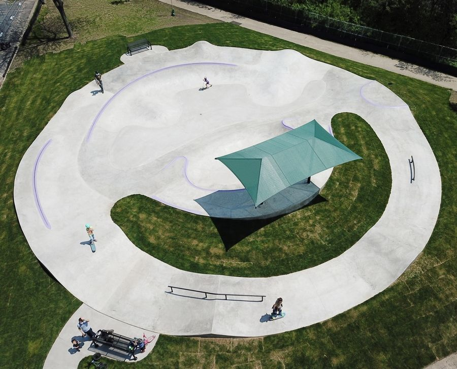 Due to social distancing requirements, no more than 10 people at a time can use the Vernon Hills Park District's new skate park near the Sullivan Community Center. This is the opening weekend.