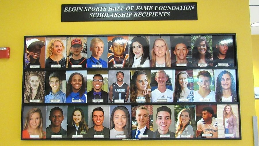 The Elgin Sports Hall of Fame Foundation hosts a golf outing each year to raise money for its scholarship fund, which past recipients are displayed here at the Ed Schock Centre in downtown Elgin. This display is updated each year reflecting the most current recipients. But like other organizations, the ESHOF is uncertain how this year's golf outing fundraiser will go.