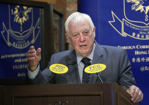 In this Sept. 19, 2017, photo, Chris Patten, Hong Kong's last British governor, listens to questions at The Foreign Correspondents' Club to promote his new book in Hong Kong. Patten, is urging protesters in Hong Kong not to 'œlose faith'� as Beijing appears to be tightening its control of the semi-autonomous city. The former British colony was returned to China under a 'œone country, two systems'� framework that gives it greater freedoms.