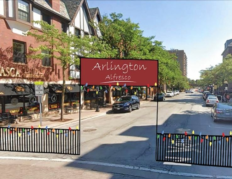 The Arlington Alfresco outdoor dining plan that would fence off the main downtown streets of Vail Avenue and Campbell Street, as depicted in this rendering, won't be ready until sometime next week, officials said Tuesday. Though some individual restaurants with dedicated outdoor patios will be able to open Friday.