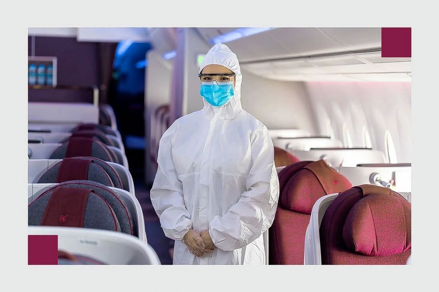 Qatar Airways announced May 18 it would require its cabin crew to wear disposable Personal Protective Equipment as well as safety goggles, gloves and a mask.