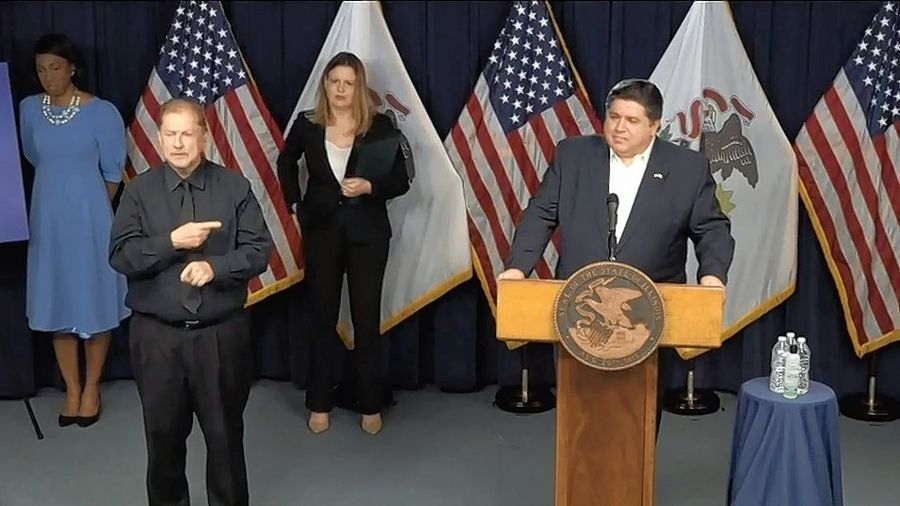 Illinois Gov. J.B. Pritzker delivers an update on the state's ongoing battle against coronavirus weeks ago during one of his daily press briefings.