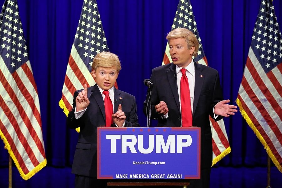 "Jack Aiello of Arlington Heights, left, did his Donald Trump impersonation alongside Jimmy Fallon on an episode of ""The Tonight Show"" in 2016."