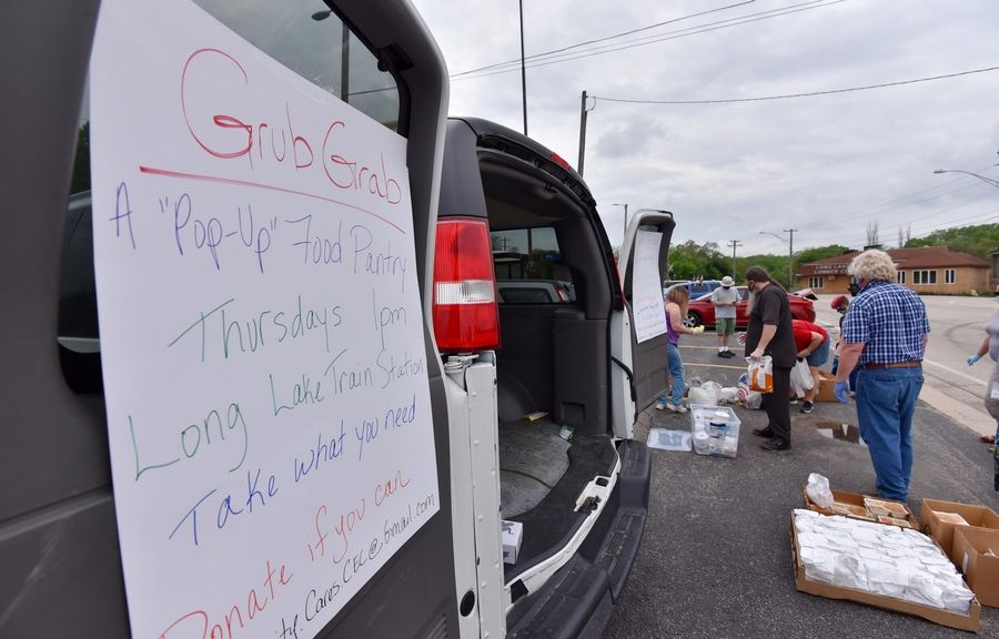 The Grub Grab Pop-up Food Pantry delivers donated meals every Thursday at the Long Lake Metra station.
