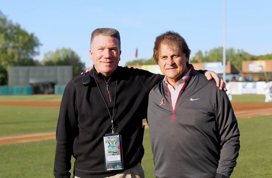 The Kane County Cougars vice president and general manager Curtis Haug with Tony LaRussa, former executive with the Arizona Diamondbacks.