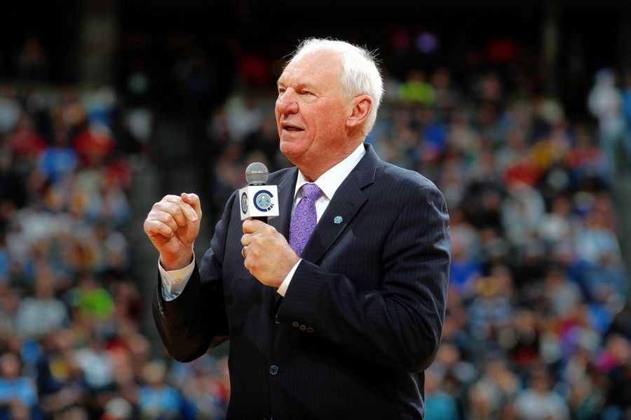 Retired Denver Nuggets center Dan Issel speaks during the team's 50th anniversary celebration before the second half of an NBA basketball game Saturday, Oct. 21, 2017, in Denver. The Nuggets won 96-79.