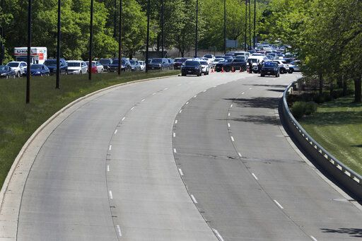 Motorists traveling northbound on Lake Shore Drive to downtown Chicago, Sunday, May 31, 2020, are forced off at the 31st Street exit by police, as part of a security perimeter around the downtown area.