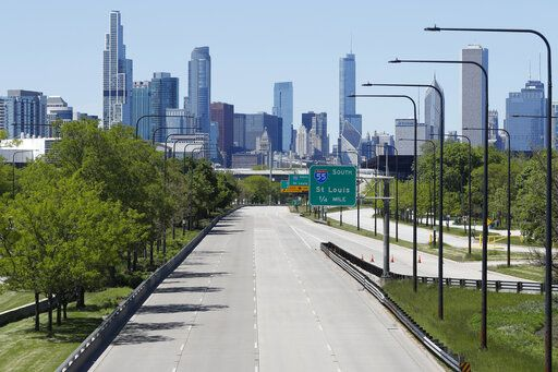 Northbound Lake Shore Drive sits empty of motorists traveling to downtown Chicago, Sunday, May 31, 2020, as police force traffic off at the 31st Street exit, as part of a security perimeter around the downtown area.