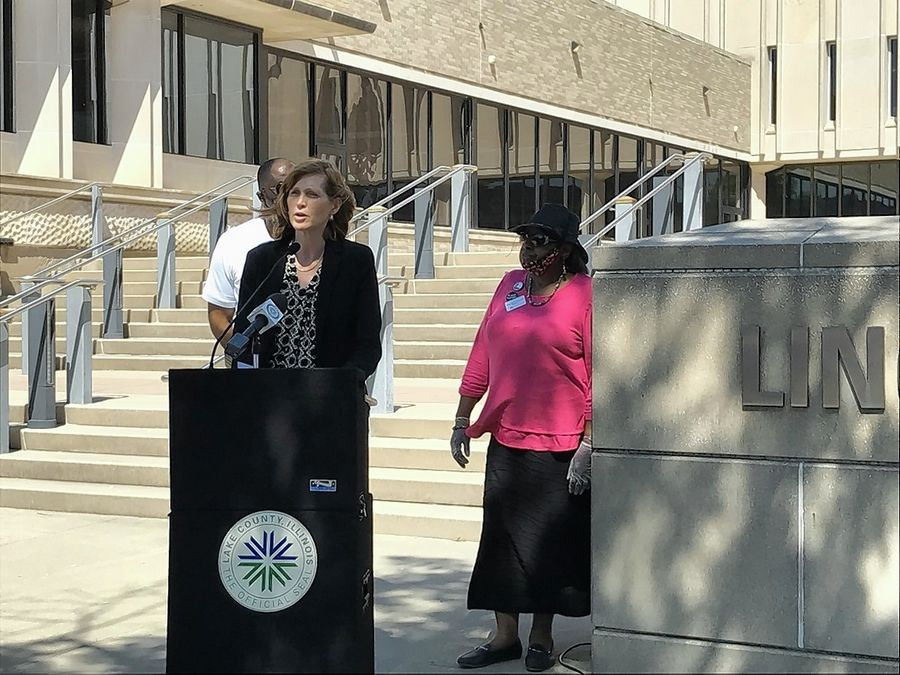 Lake County Board Chairwoman Sandy Hart addressed the media Tuesday afternoon. Hart was joined by Waukegan Mayor Sam Cunningham, left, and his mother, Lake County Board Vice Chairwoman Mary Ross-Cunningham.