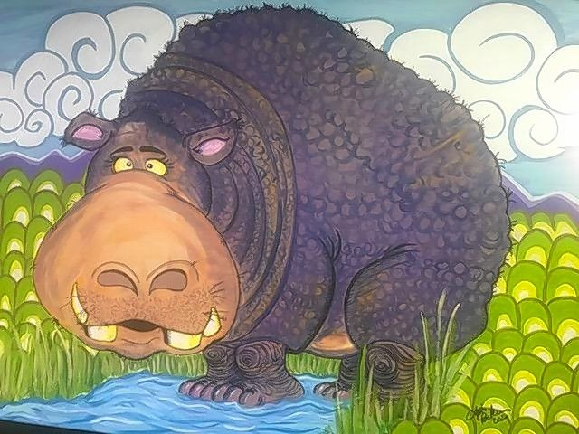 """Avocado Dip Hippo,"" acrylic by Tim Decker, one of four artists whose work will be on display at Blue Moon Gallery starting June 5."