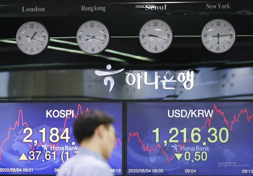A currency trader walks by the screens showing the Korea Composite Stock Price Index (KOSPI), left, and the foreign exchange rate between U.S. dollar and South Korean won at the foreign exchange dealing room in Seoul, South Korea, Thursday, June 4, 2020.  Asian stock markets are mixed after Wall Street rose on better U.S. jobs and manufacturing data than expected.