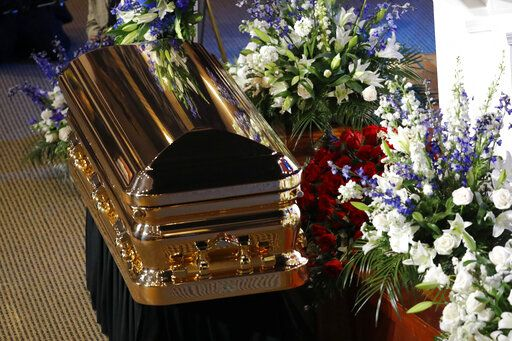 The casket of George Floyd sits before the podium during his memorial service at North Central University Thursday, June 4, 2020, in Minneapolis.