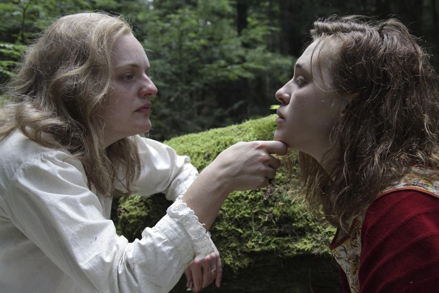 "Writer Shirley Jackson (Elisabeth Moss), left, establishes a conflicted relationship with a college student (Odessa Young) in ""Shirley."""